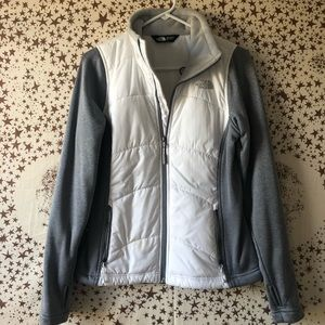 Gray and white North Face zip up jacket